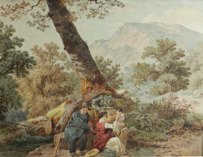 Wolfgang-Adam Töpffer  - Farmers at rest by a tree | MasterArt