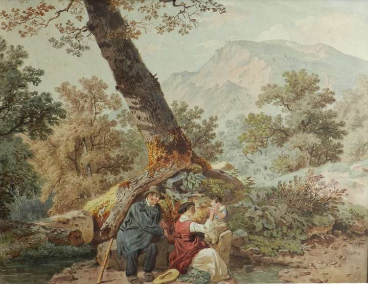 Farmers at rest by a tree