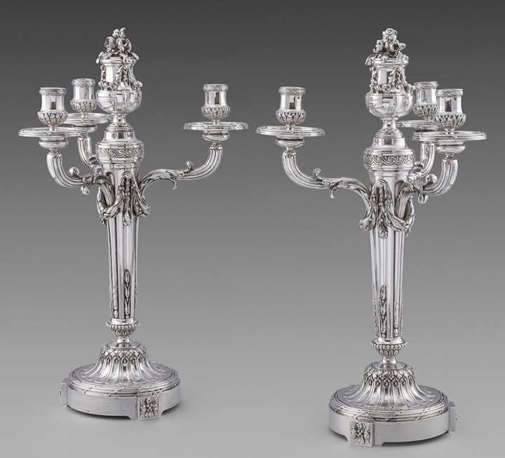 A Pair of French Louis XVI Style Three Light Candelabra