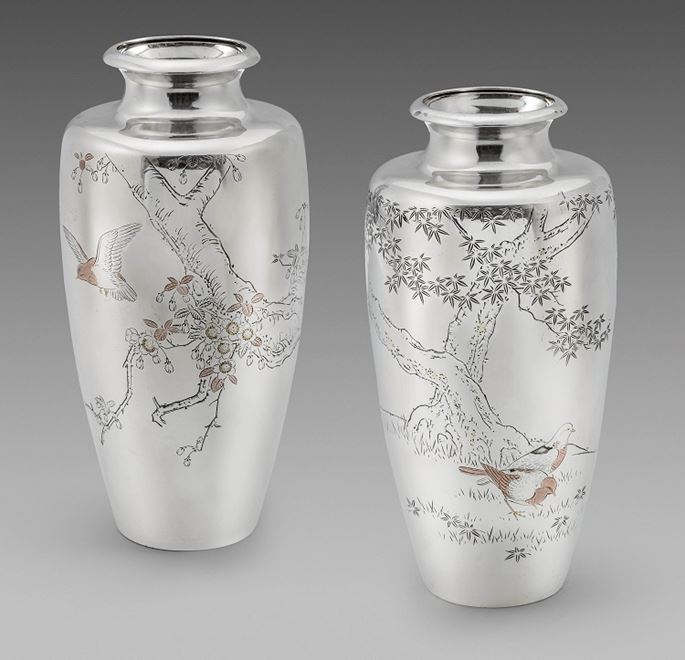 A Pair Of Meiji Period Japanese Vases Masterart