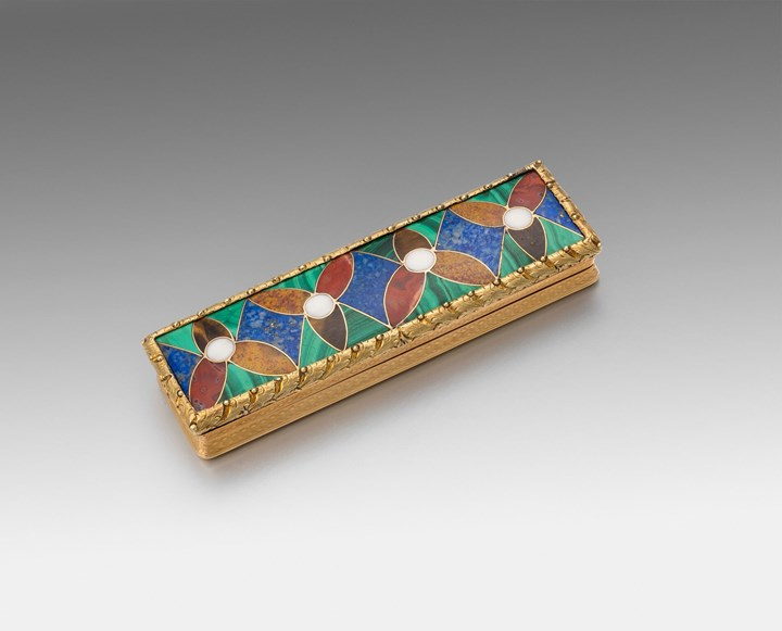 A Rare Two-Colour 18tct Gold & Hardstone Toothpick Case