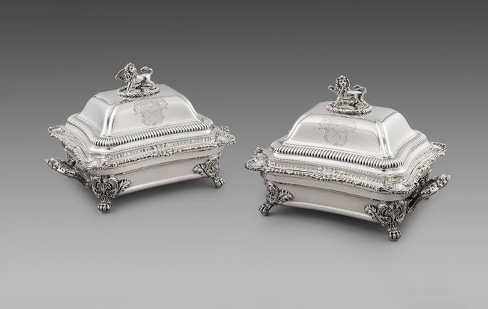 A Pair of Victorian Entrée Dishes & Covers on Sheffield-Plate Warming Stands | MasterArt