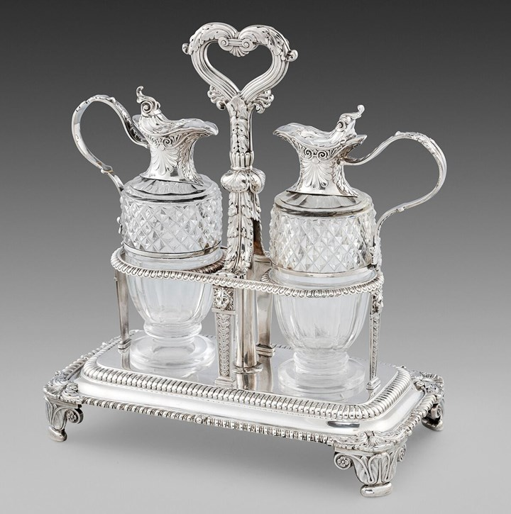 A George III Silver Two-Bottle Cruet Stand