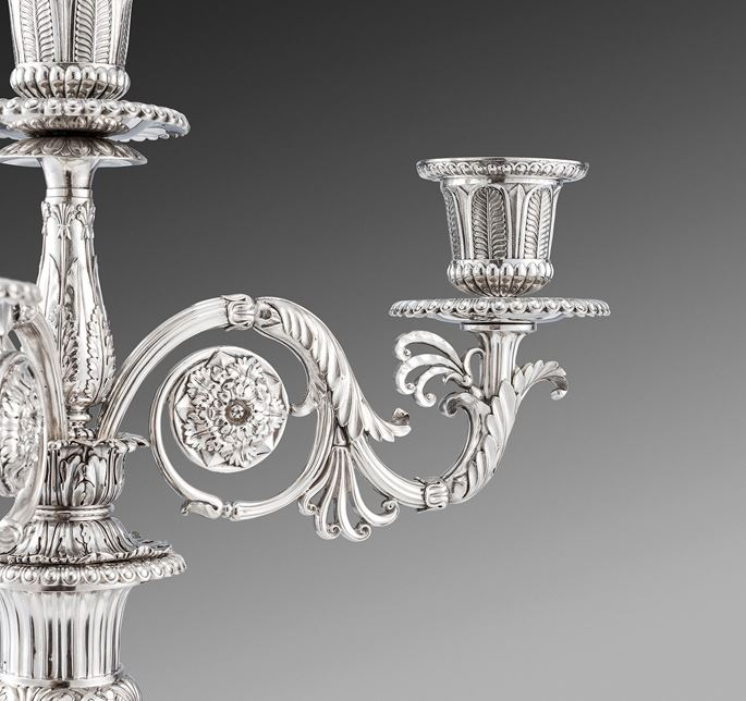 Paul Storr - A Magnificent Pair of George III Silver Four-Light Candelabra  | MasterArt