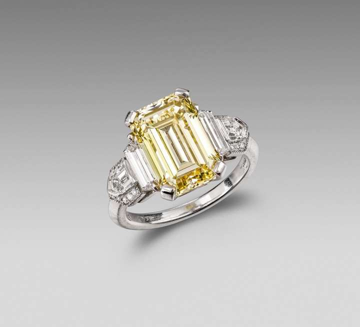 Platinum, Fancy Yellow Diamond and Diamond Art Deco Ring