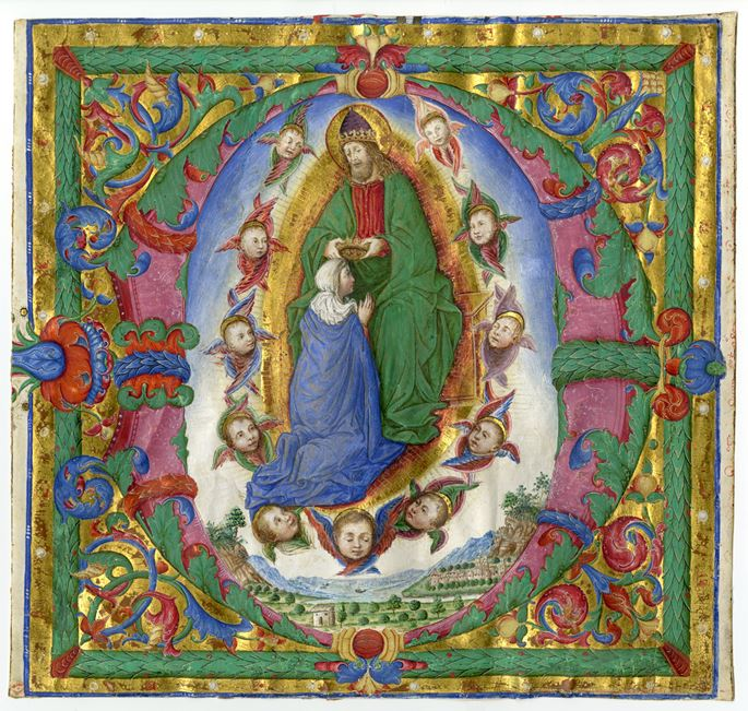 Bartolomeo Caporali - Coronation of the Virgin in an initial D | MasterArt