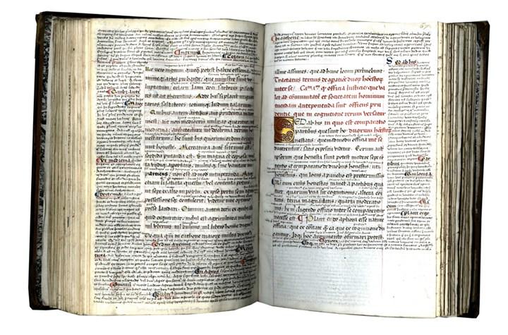 In Latin, Decorated Manuscript on Panchment: De officiis libri III cum interpretatione Petri Marsi