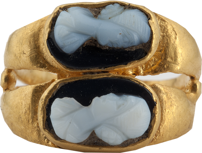 Antique Ring with Two Female Portrait Cameos   MasterArt