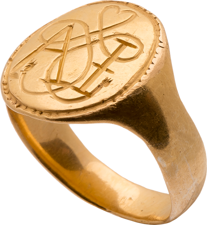 "Signet Ring with True Lover's Knot and the Initials ""AI"" 