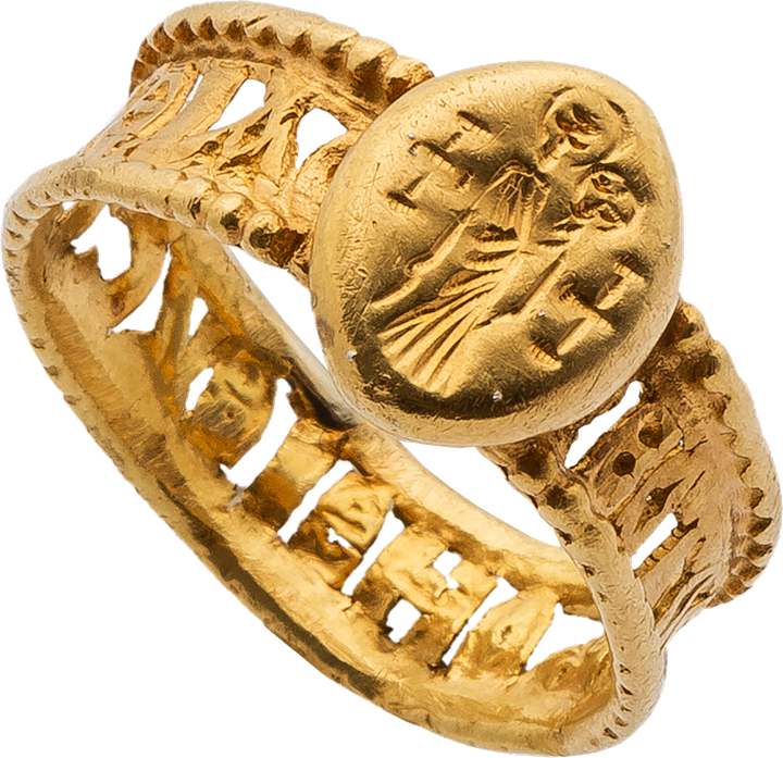 Gold Ring with the Standing Virgin and Child and Openwork Band