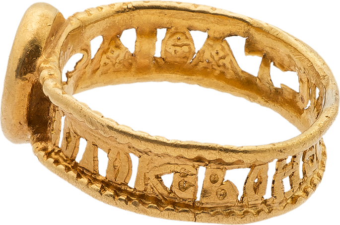 Gold Ring with the Standing Virgin and Child and Openwork Band | MasterArt