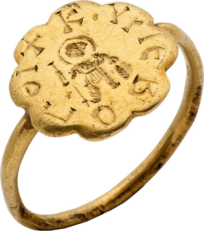 Gold Ring with Engraved Warrior Saint (George?) and Inscription   MasterArt