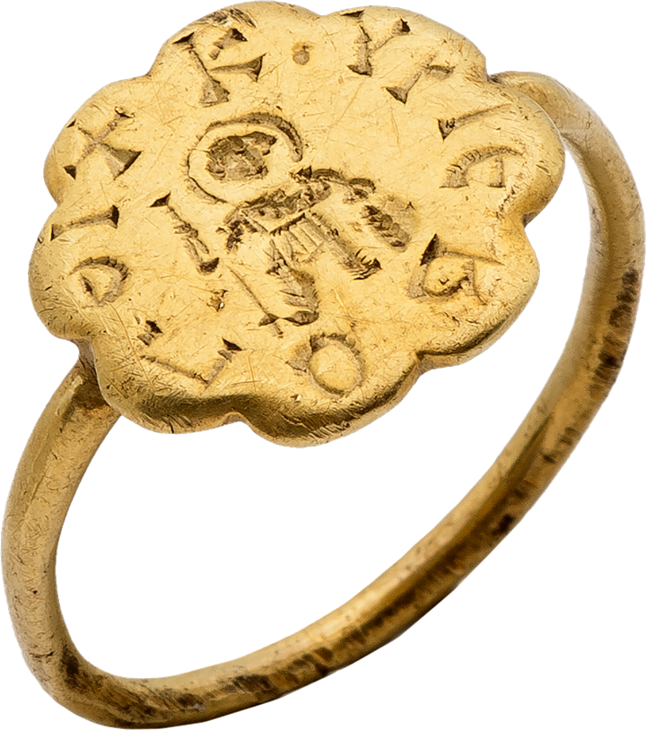 Gold Ring with Engraved Warrior Saint (George?) and Inscription