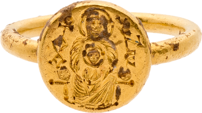 Gold Ring with Engraved Virgin and Child and Inscription | MasterArt