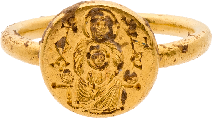 Gold Ring with Engraved Virgin and Child and Inscription