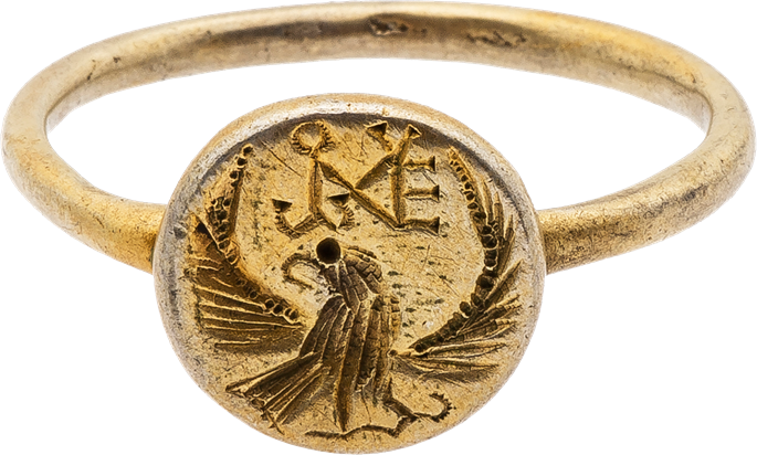 Electrum (or possibbly Silver Gilt) Ring with Eagle and Monogram | MasterArt