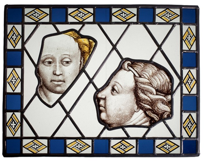Stained Glass: Two Panels from Civil Architecture:  the Virgin and an Angel