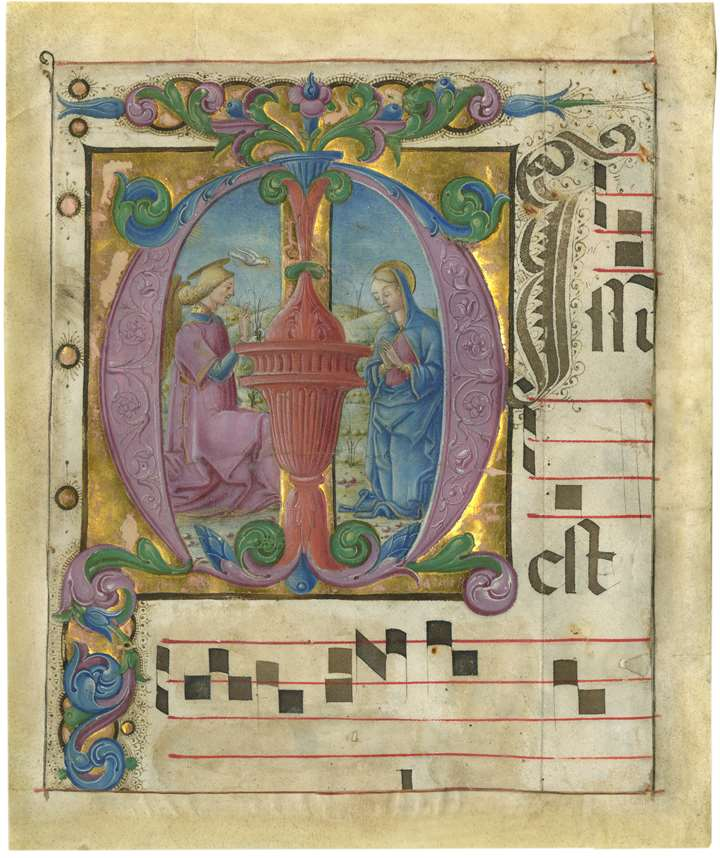 The Annunciation in an initial