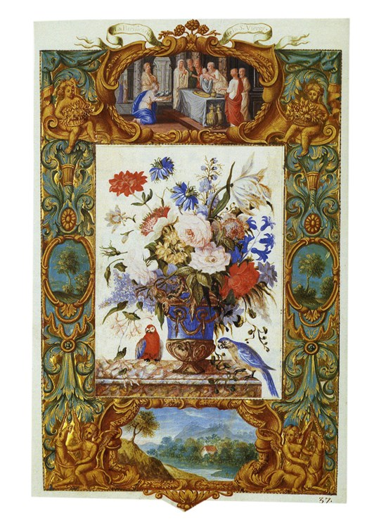 Vase of Flowers, Presentation in the Temple (recto), Finding of Moses (verso)