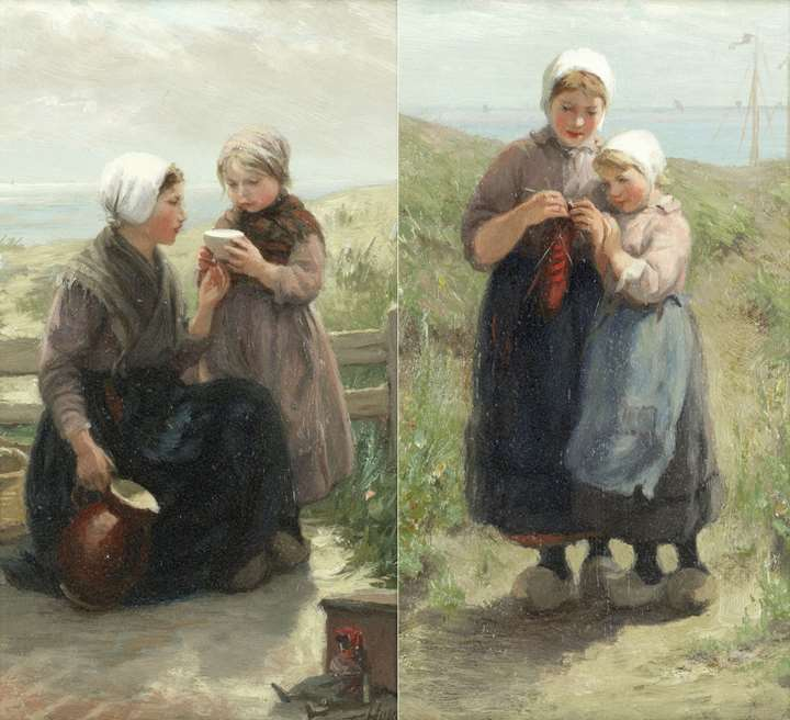 A drink in the dunes; Knitting by the shore