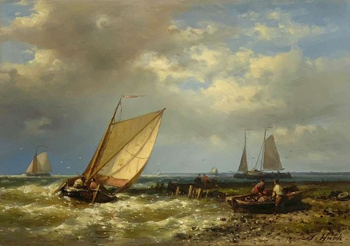 Dutch fishing barges heading offshore in a choppy sea