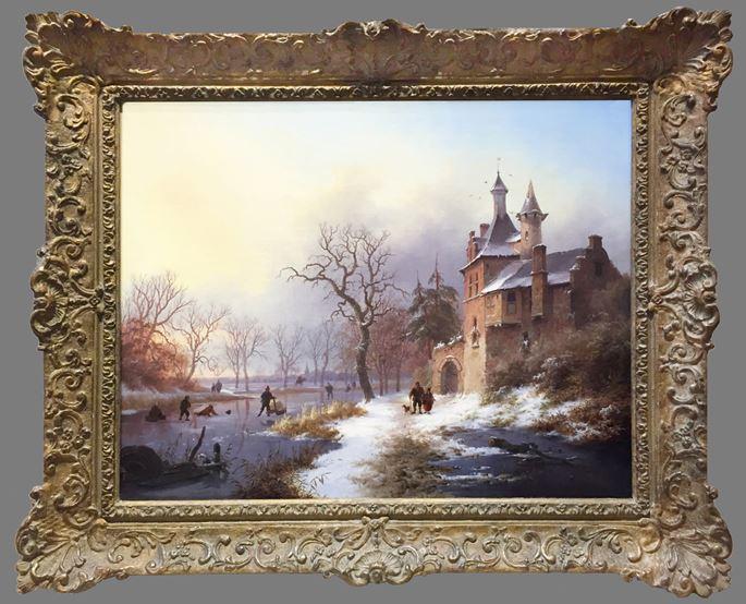 Fredrik Marinus Kruseman - Frozen river scene, figures by a house | MasterArt