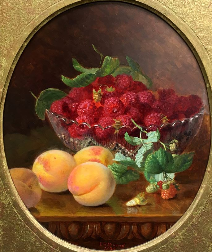 Eloise Harriet Stannard - A basket of black grapes and an apple; Raspberries and peaches on a table | MasterArt