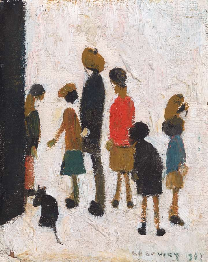 Figures with a dog