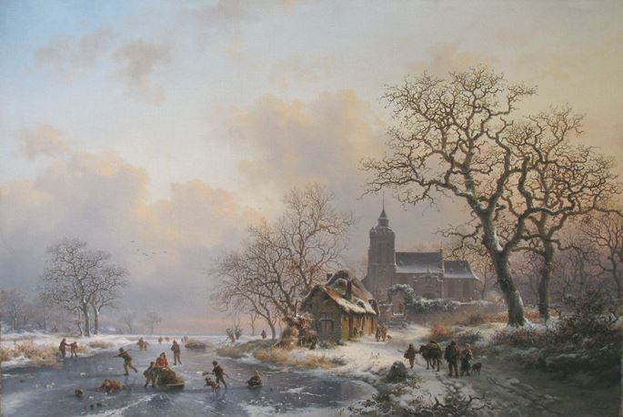 Fredrik Marinus Kruseman - A winter landscape with skaters on a frozen river | MasterArt