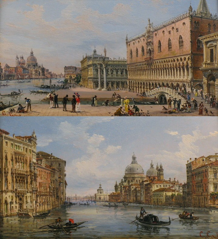 Venice, a view of the Doge's Palace, looking West; Venice, a view of the Grand Canal looking East,  with Santa Maria della Salute and the Punta della Dogana