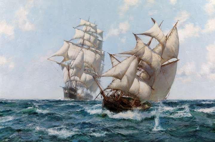 Heave To – A Baltimore Clipper in Action with a Coasting Slaver
