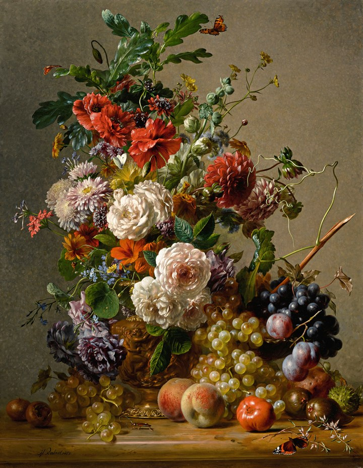 Dahlias, Nasturtiums, Roses and other Flowers in a Copper Ewer  with Plums, Grapes and Peaches on a Marble Ledge