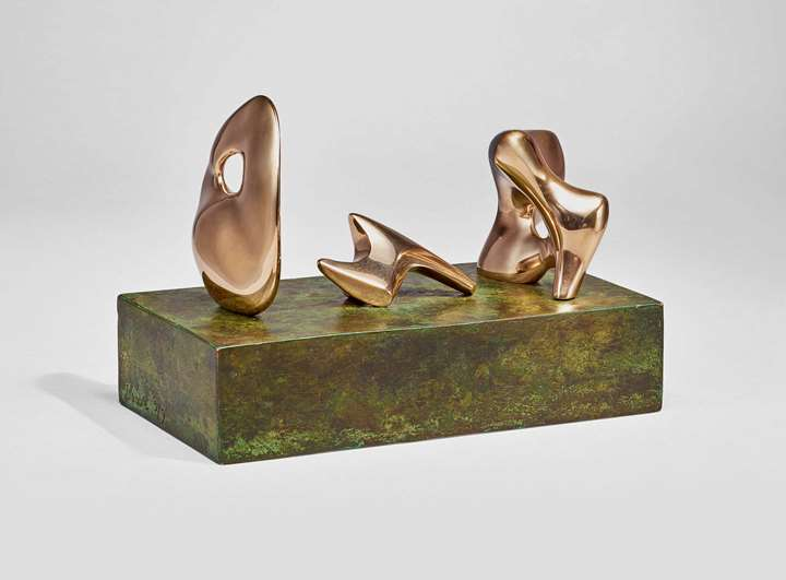Three Piece Reclining Figure: Maquette No.2: Polished