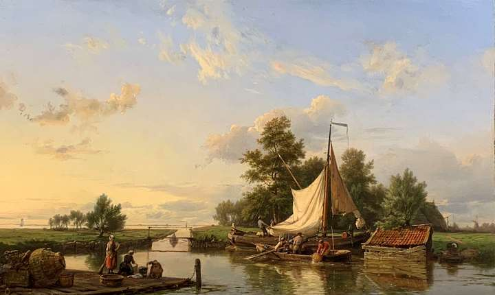 Summer canal scene with figures by a boat