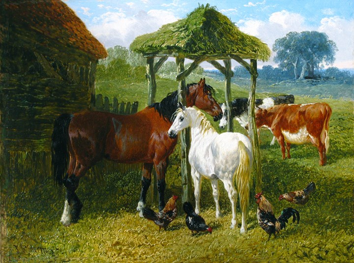 Horses, Cows and Chickens in a Farmyard