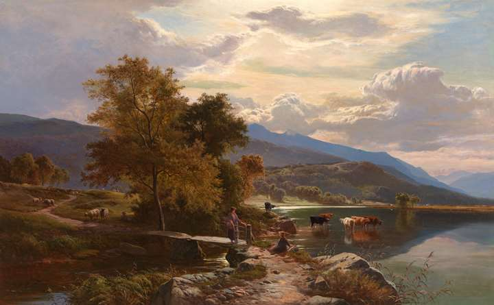 Near Bettws-y-Coed; Moel Siabod from Capel Curig,  with cattle by the water and figures on the bank