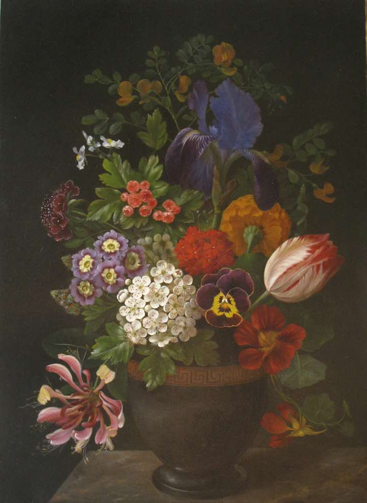 An iris, a tulip, a pansy, polyanthus, honeysuckle and  other flowers in a vase on a ledge