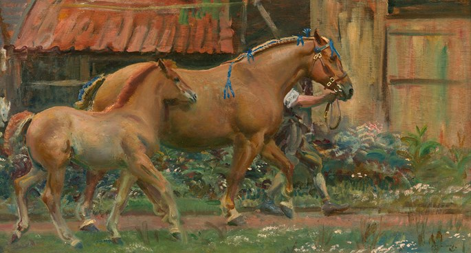 Sir Alfred James Munnings - Show Dress - Mare and foal belonging to Colonel Guy Blewitt | MasterArt