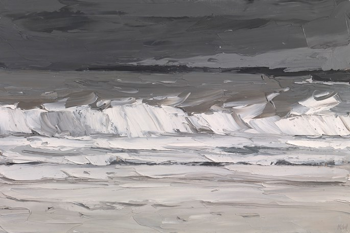 Sir Kyffin Williams - Anglesey coastal scene with rough sea | MasterArt