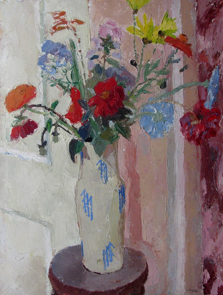 Summer Flowers in a Blue and White Vase