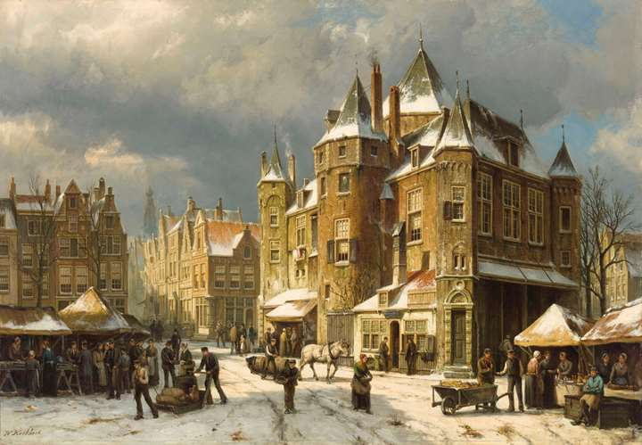 The Nieuwmarkt in Amsterdam in winter