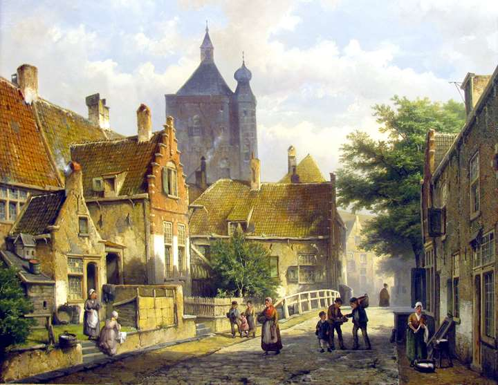 Villagers on a Sunlit Dutch Street
