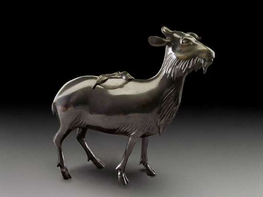A Bronze Incense Burner in the Form of a Goat, Qing Dynasty