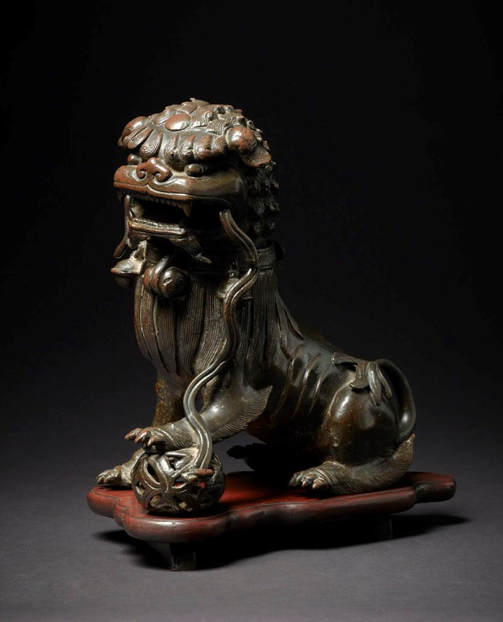 A Bronze Incense Burner in the Form of a Guardian Lion, Qing Dynasty