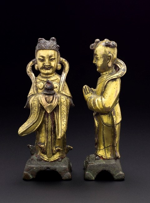 A Pair of Gilt Bronze Figures, Qing Dynasty