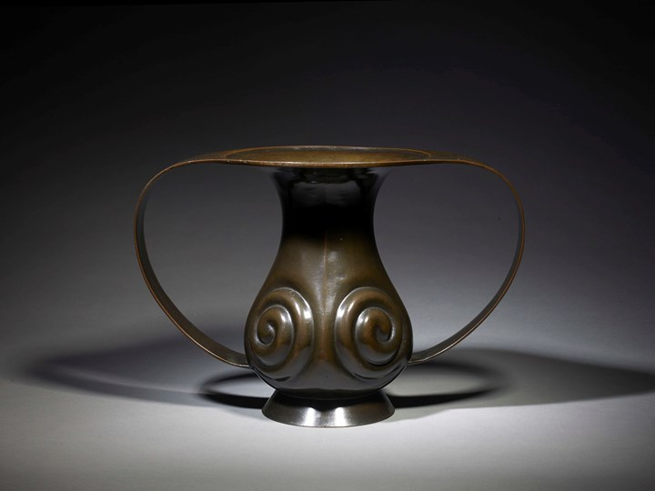 Bronze Flower Vessel of Mimikuchi Flying-Handles Form, Japan, Edo Period