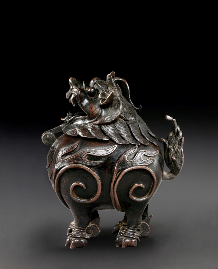 Bronze Incense Burner in Form of Mythical Beast (Luduan), Ming/Qing Dynasty