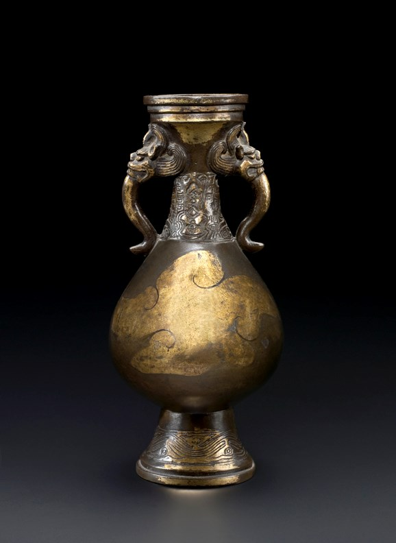 Bronze Parcel Gilt Flower Vase, early Ming Dynasty