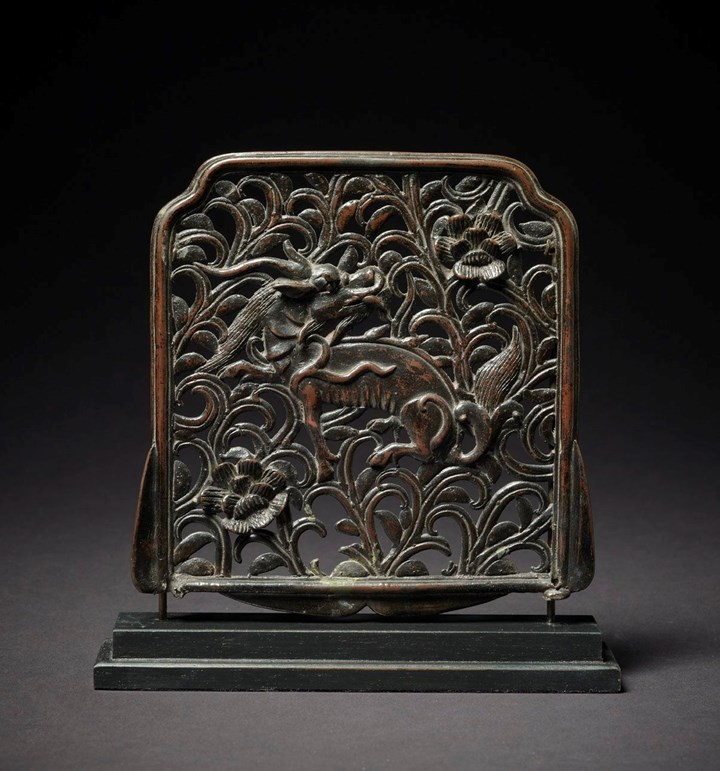 Bronze Plaque Depicting a Qilin in Foliage, Qing Dynasty