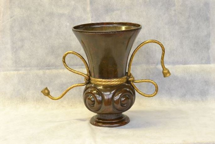 Japanese Bronze Flower Vessel with Gilt Gold Flowers | MasterArt